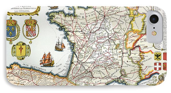 Antique Map Of France IPhone Case by French School