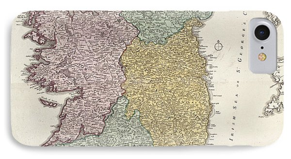 Antique Map Of Ireland Showing The Provinces Phone Case by Johann Baptist Homann