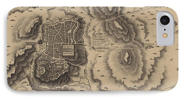 Antique Map Of Jerusalem IPhone Case by English School