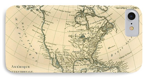 Antique Map Of North America Phone Case by Guillaume Raynal