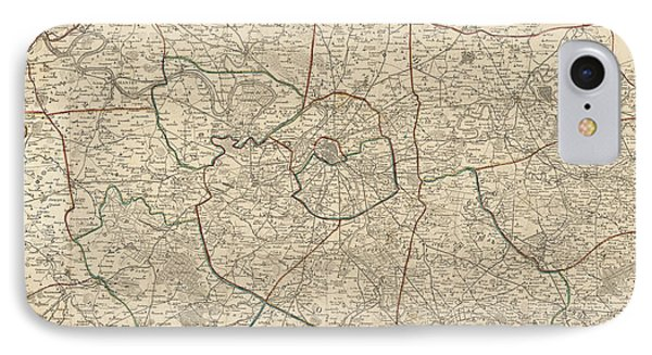 IPhone Case featuring the drawing Antique Map Of Paris France And Surroundings By Jacques Esnauts - 1811 by Blue Monocle
