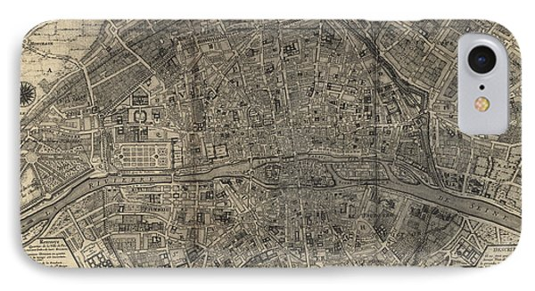 IPhone Case featuring the drawing Antique Map Of Paris France By Nicolas De Fer - 1705 by Blue Monocle