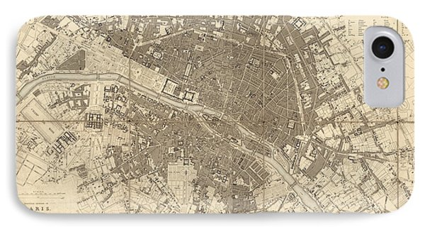 IPhone Case featuring the drawing Antique Map Of Paris France By The Society For The Diffusion Of Useful Knowledge - 1834 by Blue Monocle
