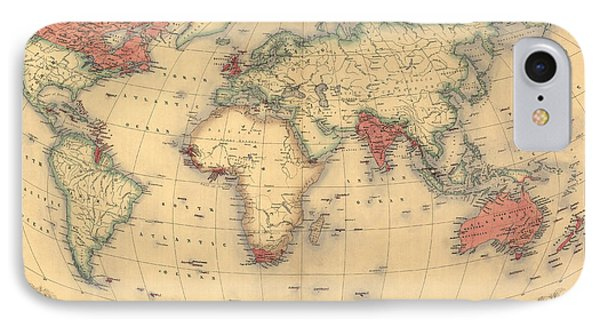 Antique Map Of The British Empire Circa 1870 IPhone Case by English School