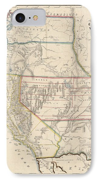 IPhone Case featuring the drawing Antique Map Of The Western United States By John Disturnell - 1853 by Blue Monocle