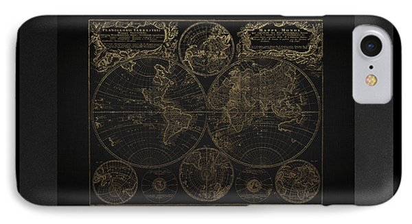 Antique Map Of The World - Gold On Black Canvas IPhone Case