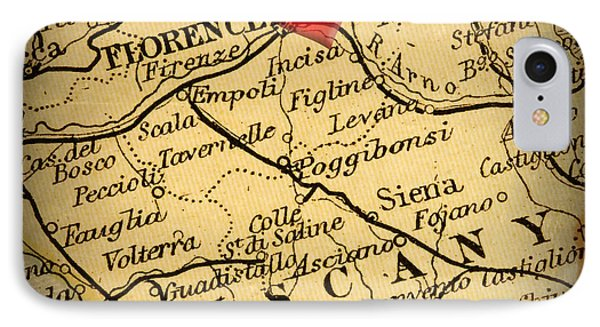 Antique Map With A Heart Over The City Of Florence In Italy Phone Case by ELITE IMAGE photography By Chad McDermott