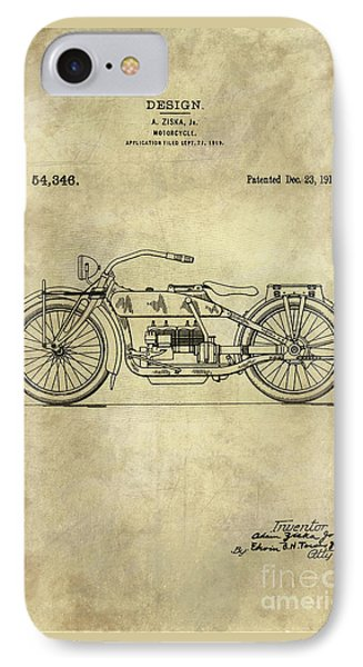 Antique Motorcycle Blueprint Patent Drawing Plan From 1919, Industrial Farmhouse IPhone Case by Tina Lavoie