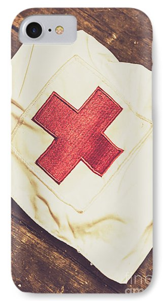 Antique Nurses Hat With Red Cross Emblem IPhone Case