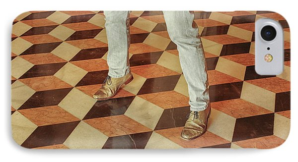 IPhone Case featuring the photograph Antique Optical Illusion Floor Tiles by Patricia Hofmeester