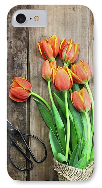 IPhone Case featuring the photograph Antique Scissors And Bouguet Of Tulips by Stephanie Frey