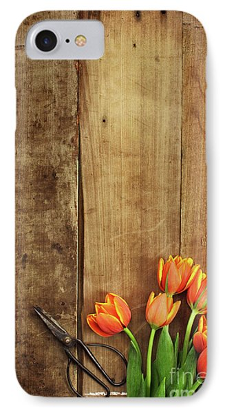 IPhone Case featuring the photograph Antique Scissors And Tulips by Stephanie Frey