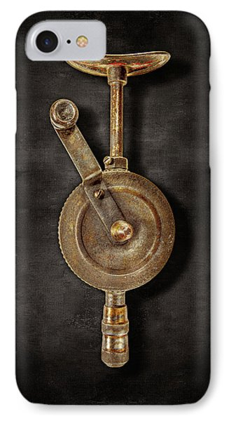 Antique Shoulder Drill Front On Black IPhone Case by YoPedro