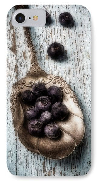 Antique Spoon And Buleberries IPhone Case by Garry Gay