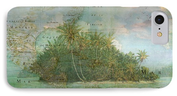 IPhone Case featuring the photograph Antique Vintage Map Of North America Tropical Ocean by Debra and Dave Vanderlaan