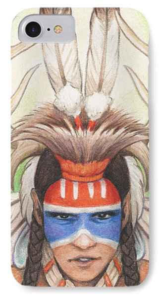 Antlered Warrior Phone Case by Amy S Turner