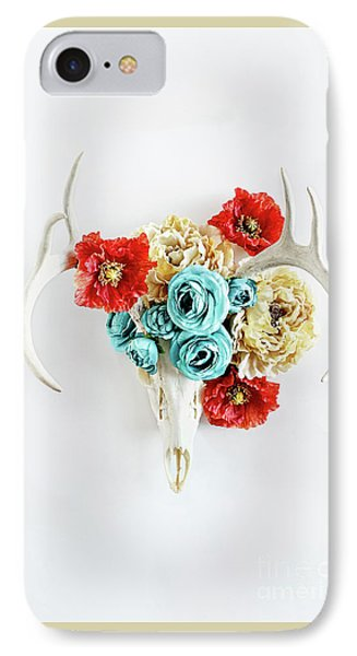 IPhone Case featuring the photograph Antlers And Florals by Stephanie Frey