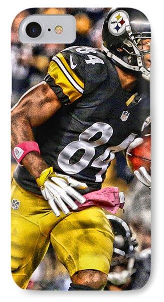 Antonio Brown Steelers Art 2 IPhone Case by Joe Hamilton
