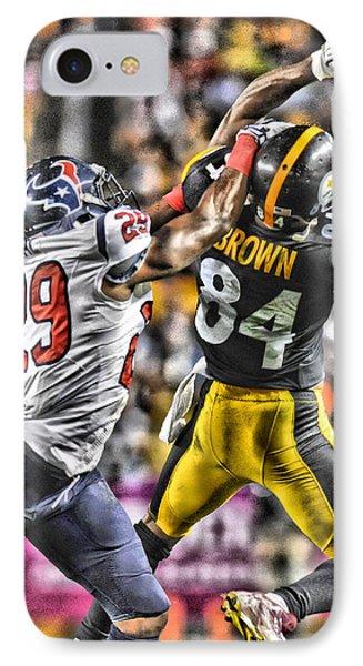 Antonio Brown Steelers Art 4 IPhone Case by Joe Hamilton