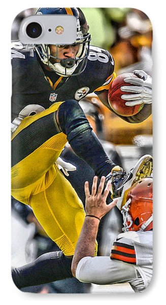 Antonio Brown Steelers Art 5 IPhone Case by Joe Hamilton