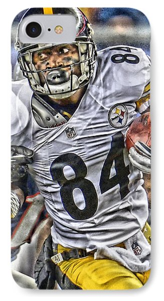 Antonio Brown Steelers Art IPhone Case by Joe Hamilton
