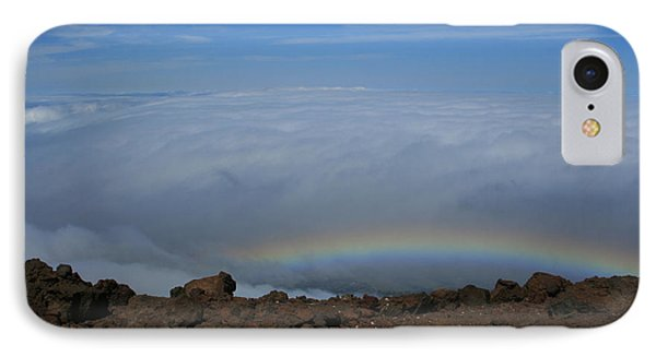 Anuenue - Rainbow At The Ahinahina Ahu Haleakala Sunrise Maui Hawaii IPhone Case by Sharon Mau