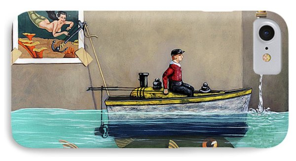IPhone Case featuring the painting Anyfin Is Possible - Fisherman Toy Boat And Mermaid Still Life Painting by Linda Apple