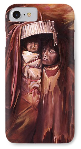 IPhone Case featuring the painting Apache Girl And Papoose by Nancy Griswold
