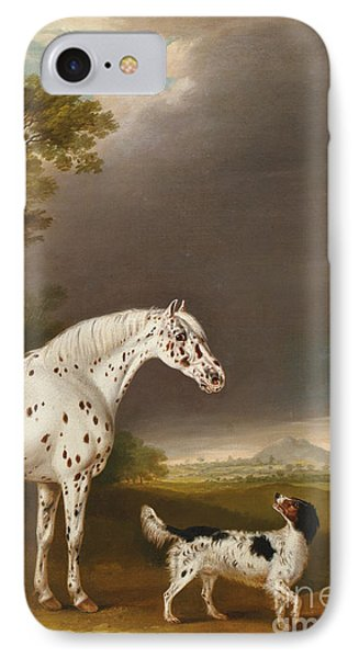 Appaloosa Horse And Spaniel IPhone Case by Thomas Weaver