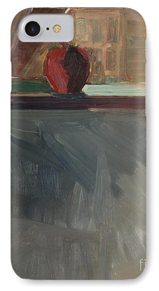 IPhone Case featuring the painting Apple On A Sill by Daun Soden-Greene