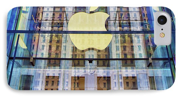 IPhone Case featuring the photograph Apple Store And Plaza Hotel Reflection by Mitch Cat