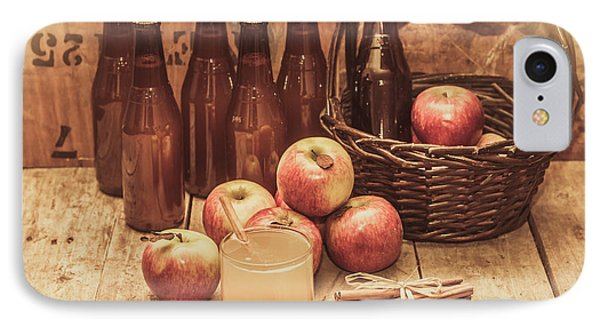 Apples Cider By Wicker Basket On Wooden Table IPhone Case by Jorgo Photography - Wall Art Gallery