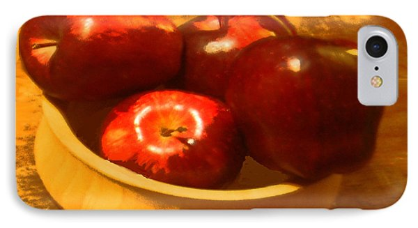 IPhone Case featuring the digital art Apples In A Bowl by Walter Chamberlain