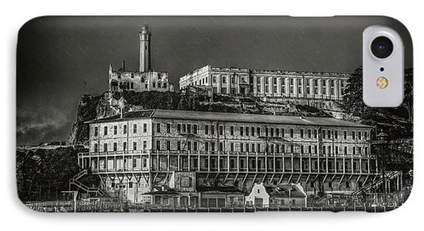 Approaching Alcatraz Island In Black And White IPhone Case