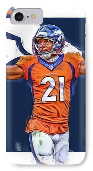 Aqib Talib Denver Broncos Oil Art IPhone Case by Joe Hamilton