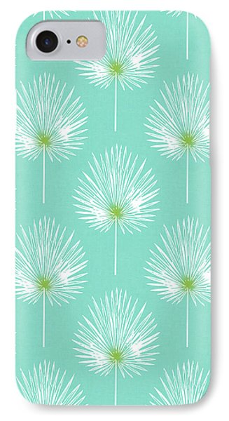 Simple iPhone 7 Case - Aqua And White Palm Leaves- Art By Linda Woods by Linda Woods