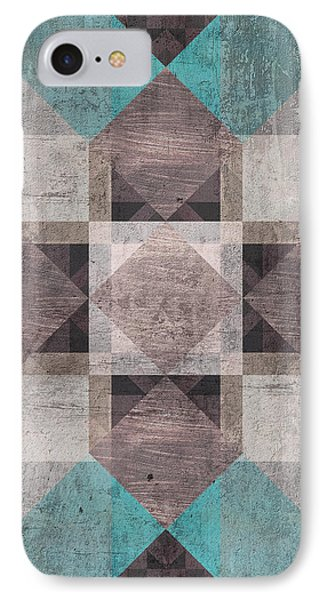Aqua Brown Quilt IPhone Case