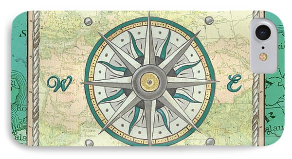 Aqua Maritime Compass IPhone Case
