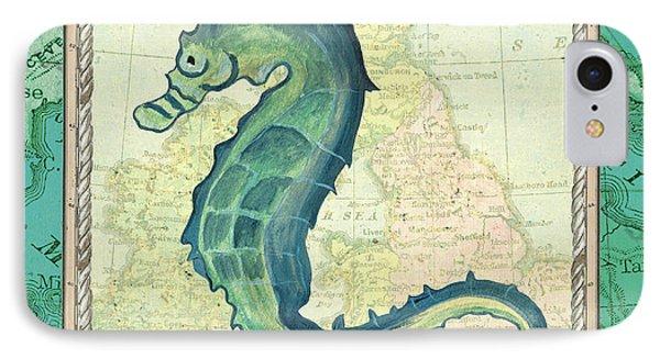 Seahorse iPhone 7 Case - Aqua Maritime Seahorse by Debbie DeWitt