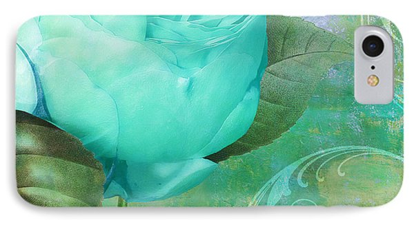 Aqua Rose IPhone Case by Mindy Sommers