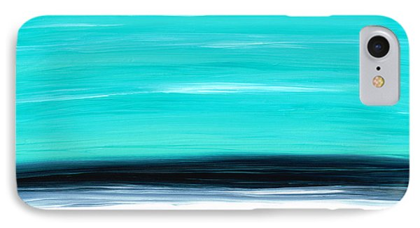 Aqua Sky - Bold Abstract Landscape Art Phone Case by Sharon Cummings