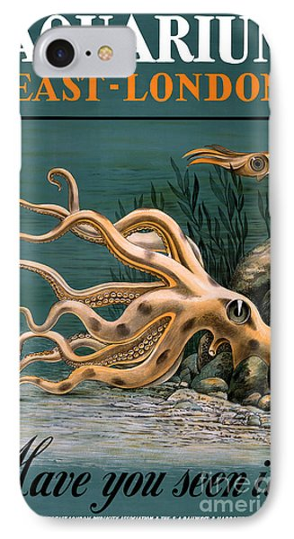 Aquarium Octopus Vintage Poster Restored IPhone Case