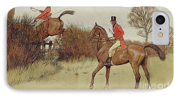 Ar Never Gets Off - Hunting Scene IPhone Case by Cecil Charles Windsor Aldin