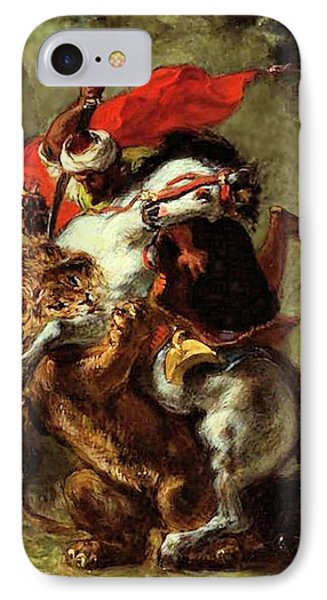 IPhone Case featuring the painting Arab Horseman Attacked By A Lion by Eugene Delacroix
