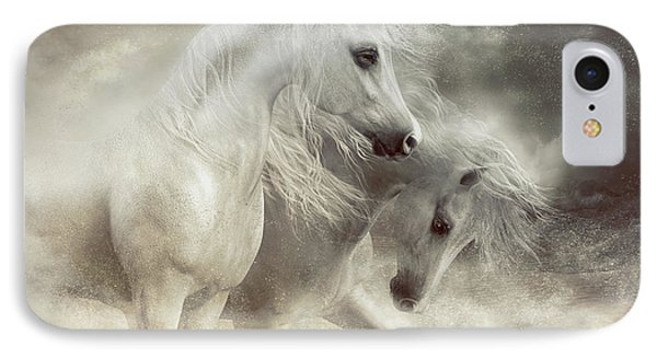 IPhone Case featuring the digital art Arabian Horses Sandstorm by Shanina Conway