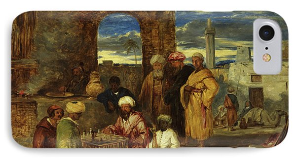 Arabs Playing Chess, 1843 IPhone Case by William James Muller