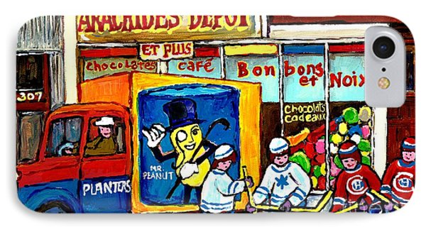 Arachides Depot Candy Shop Painting Rue De L'eglise Verdun Montreal Hockey Art Carole Spandau        IPhone Case by Carole Spandau