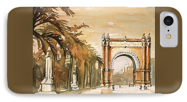 IPhone Case featuring the painting Arch- Barcelona, Spain by Ryan Fox