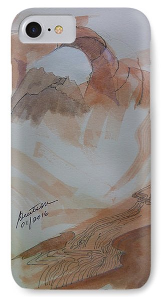 IPhone Case featuring the painting Arch Rock - Sketchbook Doodle by Joel Deutsch