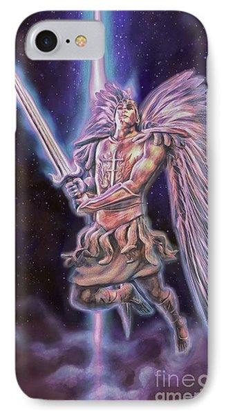 IPhone Case featuring the painting Archangel Michael - Starstuff by Dave Luebbert